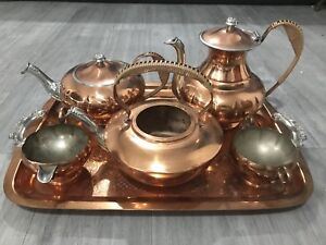 Canacraft copper/silver plated coffee/tea set