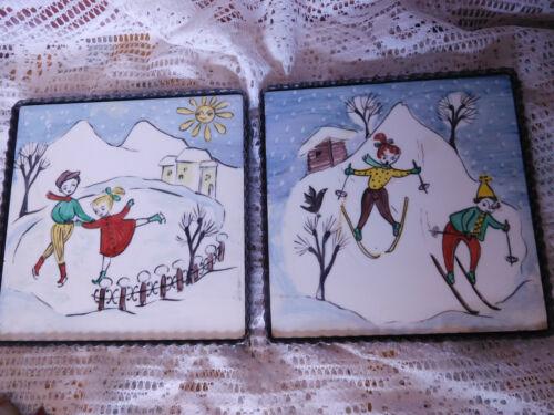 2 Vintage Hand Painted Tiles Winter Scene~Trivits~ Czechoslovakia ~FREE SHIP~