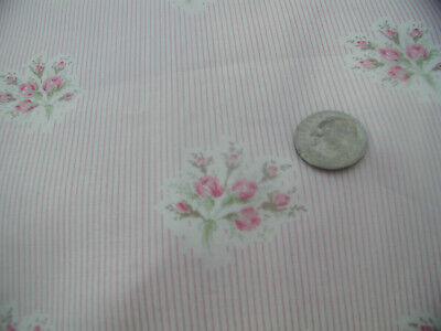 Yuwa Pink Roses Bouquets on Cream and Pink Micro Stripe 100% Cotton Fabric BTY
