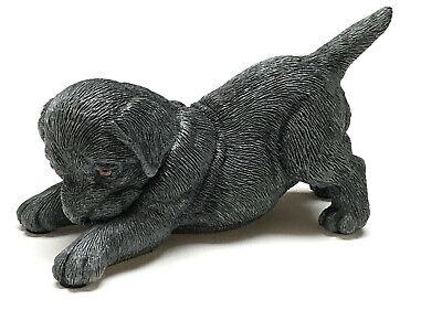 LABRADOR LAB BLACK PUPPY DOG Figurine Statue Hand Painted Resin Living Stone Black Lab Dog Figurine