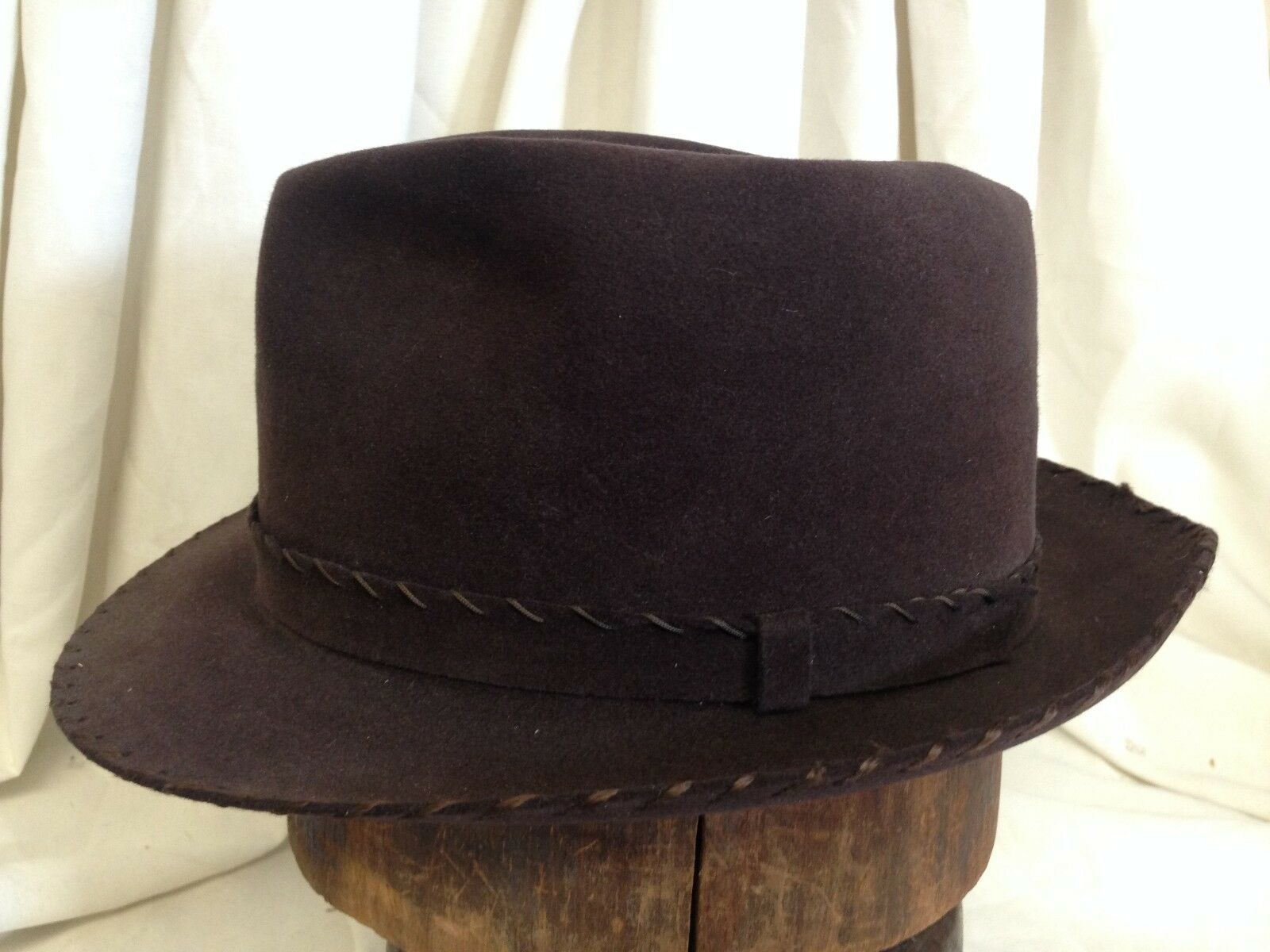 85727a61f Vintage 40s Resistol 15X Beaver Mens Brown Whipstitch Fur Felt Fedora Hat 7  14