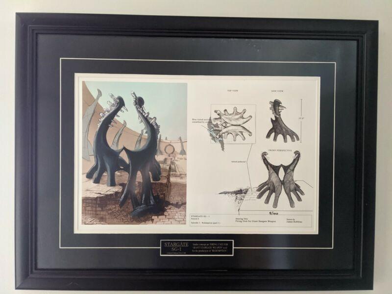"""Framed Limited (8 of 100) Stargate SG-1 """"Giant Stargate Weapon"""" Concept Art COA"""