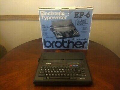 Portable Brother Electronic Typewriter Model Ep- 6 Wbox - Tested
