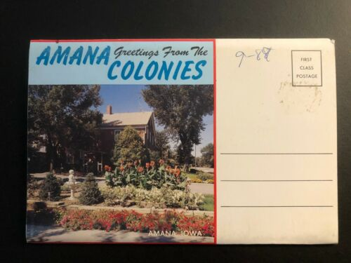 """Old Vintage """"AMANA COLONIES-IOWA""""  Fold Out Views. Made in USA"""