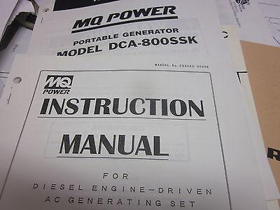 Multiquip Dca-800ssk Portable Generator Instructions Parts Manual