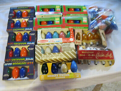 "LARGE LOT VINTAGE C9 & C9 1/4"" CHRISTMAS LIGHT REPLACEMENT BULBS"