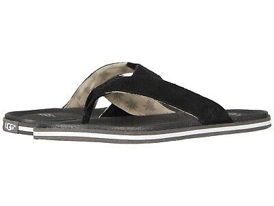 UGG Mens Beach Flip Flops Sandals Lightweight EVA Sole Comfort Thongs Black ()