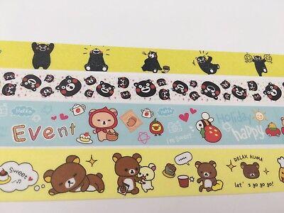 Japan Anime Rilakkuma Print Washi tape San-X Bear Kumamon Bear Holiday