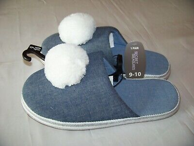 Secret Treasure Pom Scuff Women's Slippers Szs. 9/10, 11/12 Denim