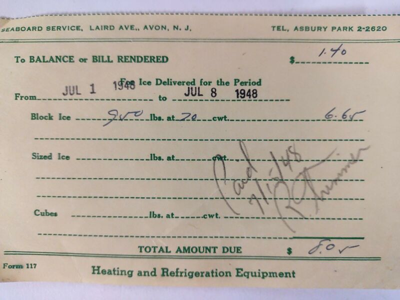 Avon New Jersey ICE DELIVERY RECEIPT 1948