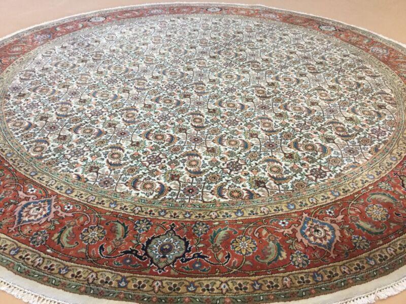 Round Persian Oriental Rug Beige Rust Super Herati Hand Knotted Foyer 8' X 8'