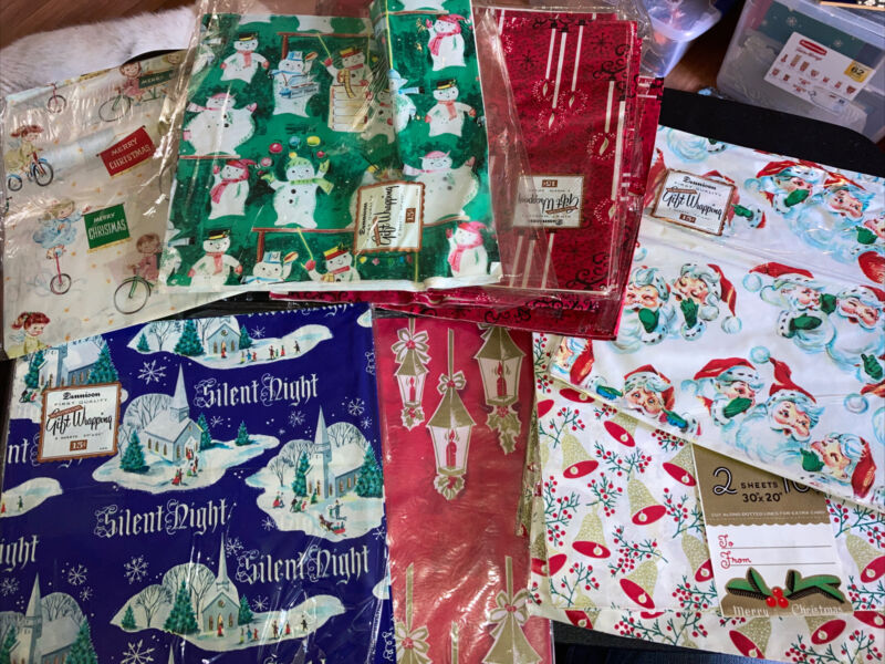 Vintage Lot Dennison Christmas GIFT WRAPPING PAPER sheets LOT NOS Santa Candles