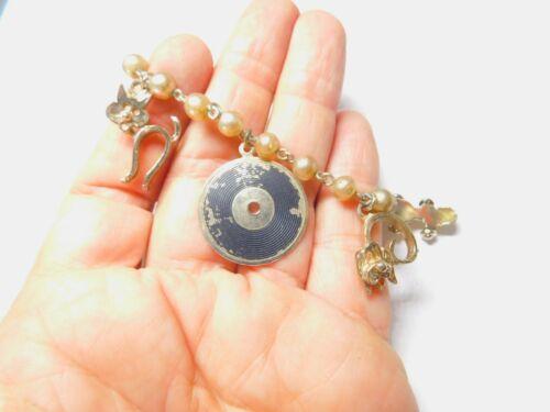 Mid Century Faux Pearl Gold Tone Chain Cat Skate Record Charm Bracelet Vintage