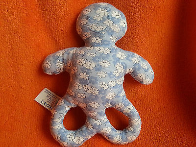 "Obaibi Okaidi France Blue Floral Activity Rattle Soft Toy 7"""