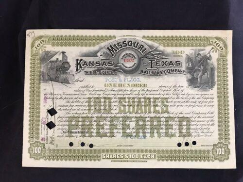 Vintage 1908 Missouri Kansas and Texas Railway Company Certificate