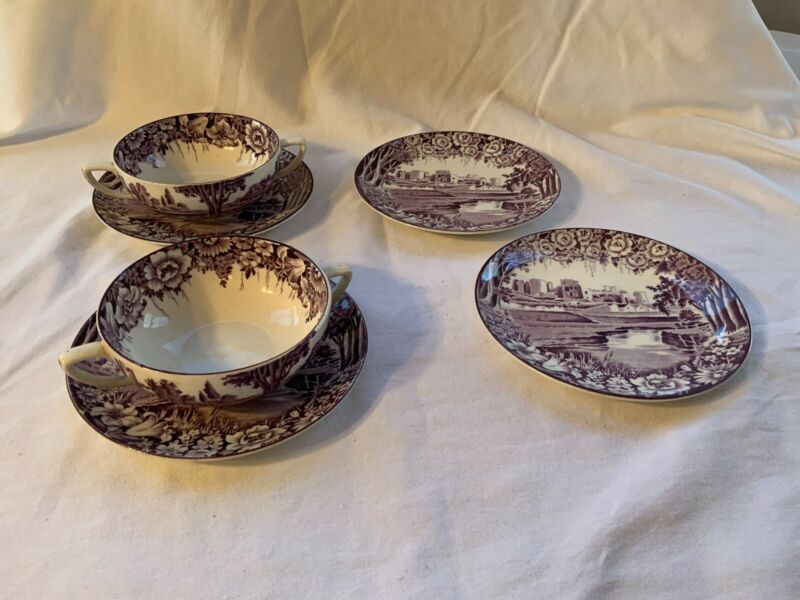 Set of Enoch Woods Mulberry Purple Castles 2 Cream soups W/ 4 Under plates