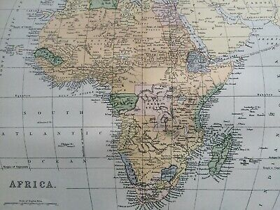1891 Africa Original Antique Map Continent Colonial Africa Vintage Old
