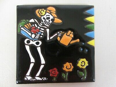 Mexican Talavera Day Of The Dead Gardener Tile - High Relief 4 1/4