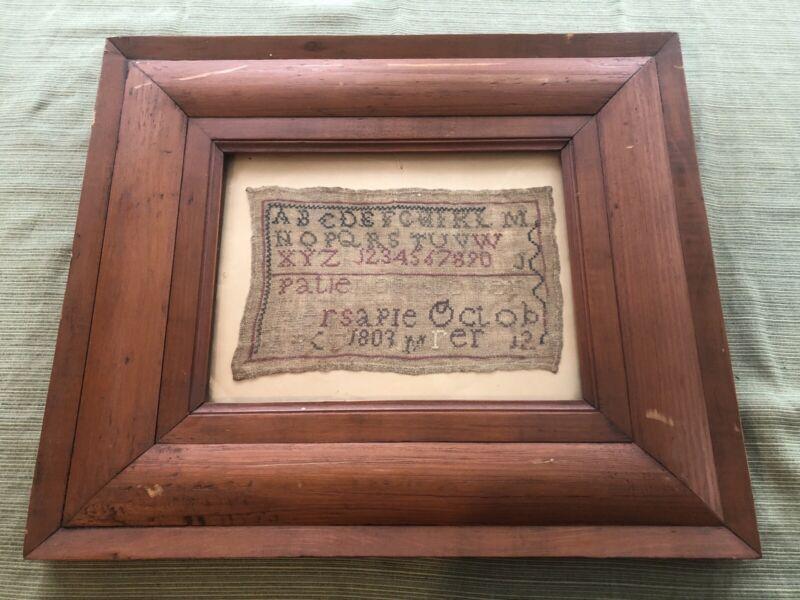 Antique 1803 English Linen Needlework Sampler