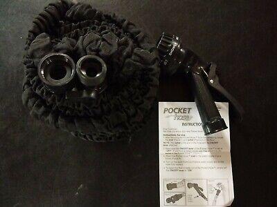 Pocket Hose 50 Ft - Black w/ Spray Nozzle - Plastic Joints = No Corrosion