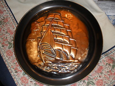 Large copper marine ship charger-mid-century wall hanging; Ship in relief--nice