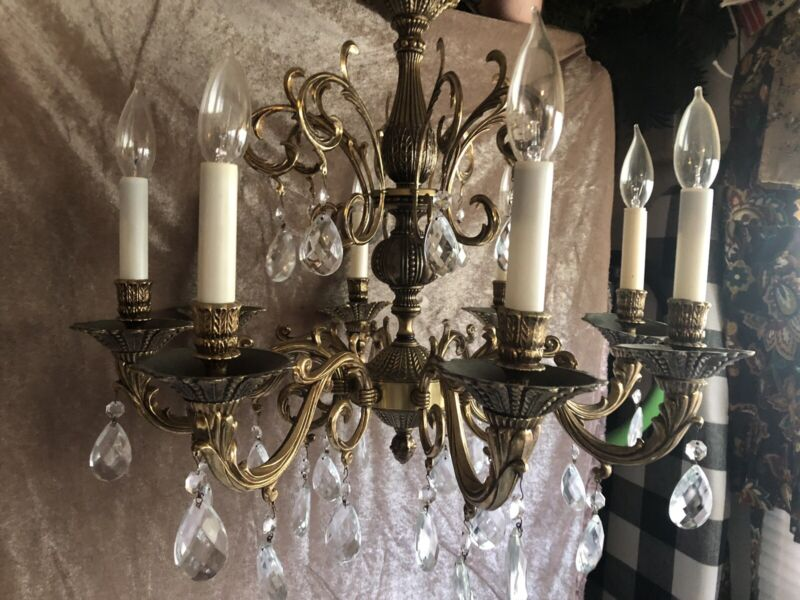 Antique Ornate 8 Arm Spanish Brass Chandelier with 31 Glass Crystal Prisms