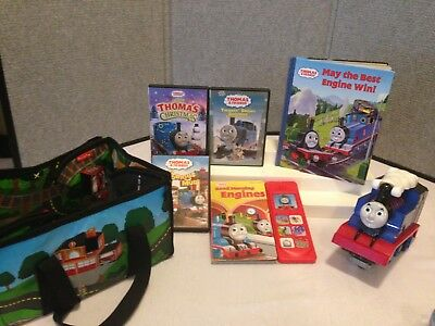THOMAS THE TRAIN ASSORTED LOT OF BOOKS, DVDS, PULL BACK TRAIN, PLAY MAT, & MORE