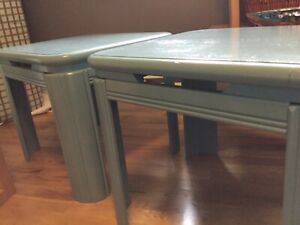 2 blue green side tables -