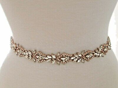 Wedding Sash Belt -  ROSEGOLD CLEAR CRYSTAL PEARL Wedding Sash Belt  Wedding Crystal Pearl
