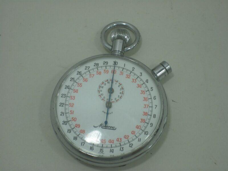 Vintage Minerva Patent Swiss Made Timer Stopwatch Half Hour Decimal Clock Watch
