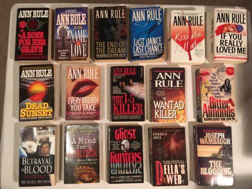 TRUE CRIME Lot ANN RULE Crime Files JOSEPH WAMBAUGH misc I-5 KILLER lot of 17