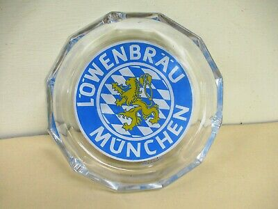 Vintage Lowenbrau Munchen Made In Germany Advertising Glass Ashtray Collectibl*F