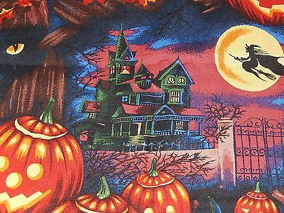 HALLOWEEN BLACK CATS + WITCHES' HAT ALEXANDER HENRY 100% Cotton Fabric 17