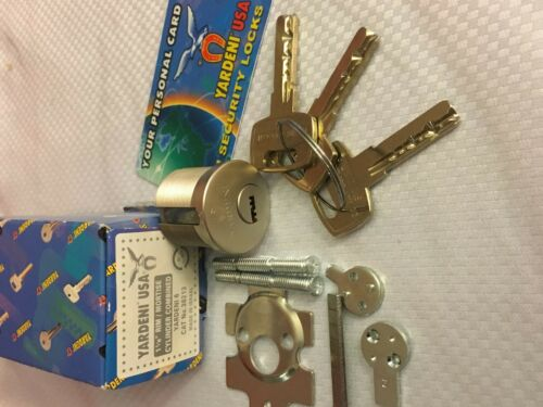 Yardeni Cylinder High Security Rim/Mortise W/3 Keys Silver,.
