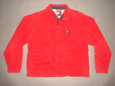 Vintage 90s TOMMY HILFIGER ZIP UP JACKET Rap HIP HOP Fashion Red 1990s Large