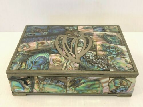 Vintage Abalone Trinket Box Beautiful Hand Crafted In Mexico