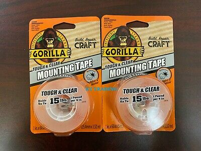 2-pack Gorilla Tough Clear Double Sided Weatherproof Mounting Tape 1 X 60