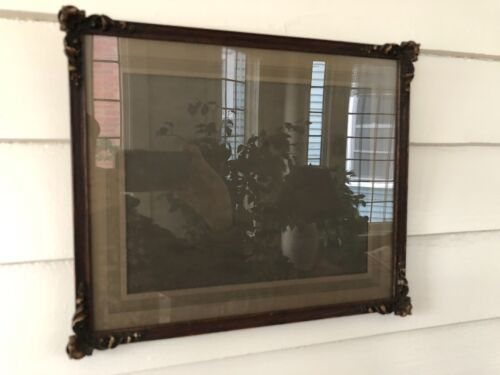 Vintage Carved Wood Picture Frame with Glass
