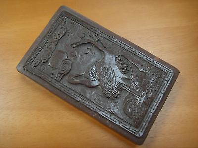 ASIAN CARVED WADING BIRDS HARDSTONE? PAINT / INK OR CALLIGRAPHY TRAY WITH LID