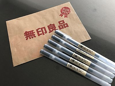 MUJI MoMA Japan 0.5mm Non-Toxic Gel Ink BLACK 5 Ballpoint Pens FREE SHIPPING