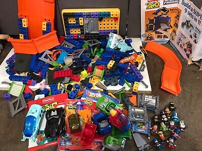 lot 421 pc Fisher Price Trio Blocks DC Figures Vehicles hot wheels instructions