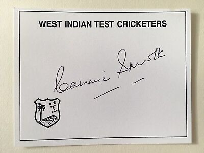 "West Indies cricket Cammie Smith signed Approximately 4"" X 3""  card"