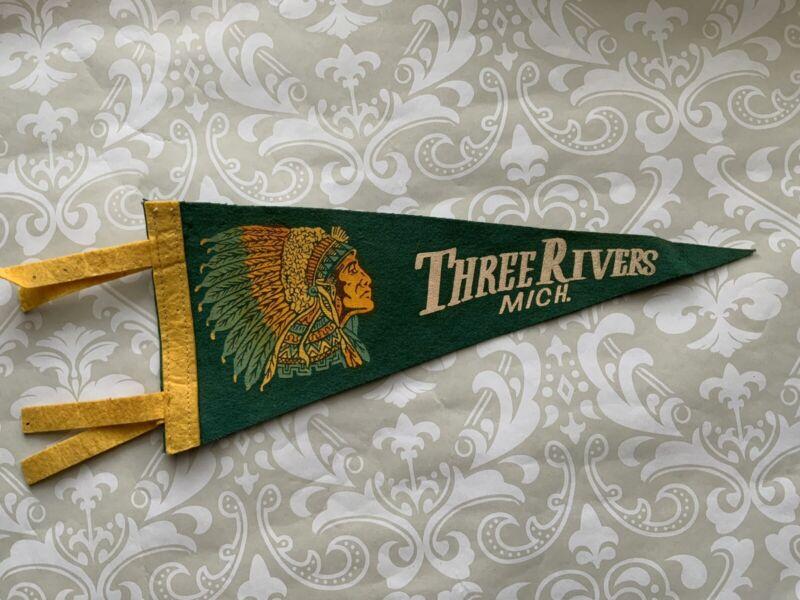 "Vintage Three Rivers MICH. Michigan Souvenir Pennant Flag Indian Head 12x5"""