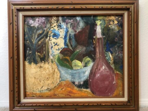 🔥 Antique Mid Century Mexican Modern Impressionist Still Life Oil Painting LEOS
