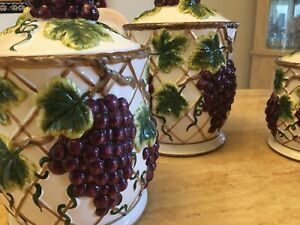 Tuscany grape -Set of 3 air tight beautiful canister MSRP $300