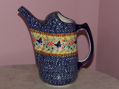 Polish Pottery Watering Can! UNIKAT Signature Butterfly Summer Pattern!