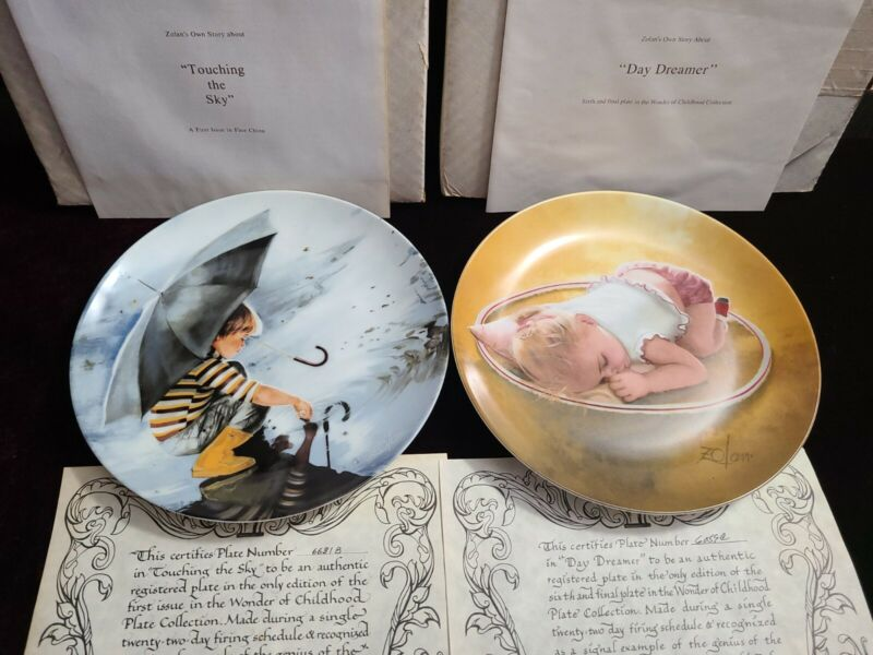 """2 Zolan Wonder of Childhood Collection Plates """"Day Dreamer"""" & """"Touching the Sky"""""""