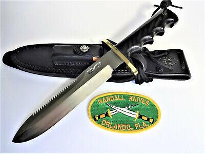 "RANDALL KNIFE Model 14 -7 1/2"" SS ST ""ATTACK"" Black Micarta FINGER GRIP HANDLE"