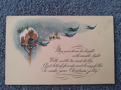 Vintage American Christmas Postcard,  Blue Birds Flying and Verse. for sale  Shipping to Nigeria
