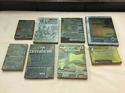 Lot Of 8 Advertising Letterpress Printing Blocks Printing Press All Different A